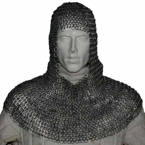 Round Riveted with Flat Washer Chainmail Coif Medieval Chain mail Hood Costume