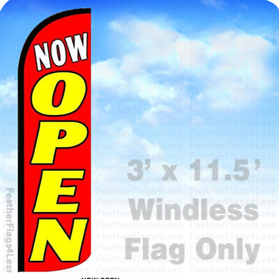 Now Open - Windless Swooper Feather Flag 3x11.5 Banner Sign - Rq108