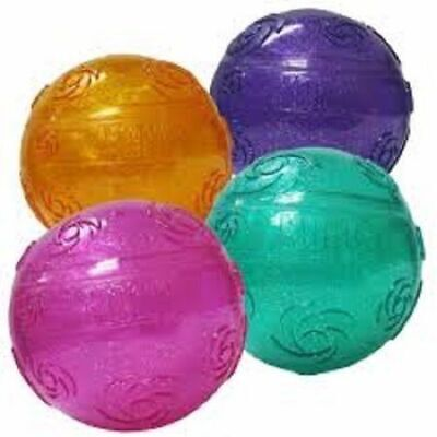 KONG Medium Squeezz Crackle Ball Quieter Play Dog Toy Assorted Vibrant Colors