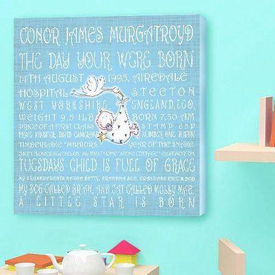 (Personalised CHRISTENING BABY CANVAS. Perfect Gift BABY NAME With Stork Delivery)