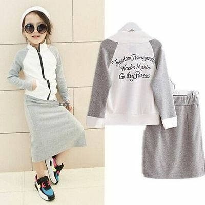 2pcs New Fashion Kids Girls Dress Sports Zipper Jacket+Skirt Leisure Clothes Set
