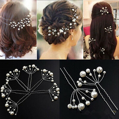 Pearl Wedding Hair Pins Bridesmaid Ivory Bridal Party Clips Grips Hair Prom New ()