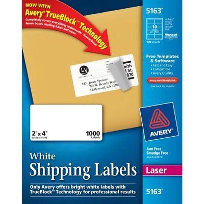 Avery Easy Peel Address Label - 2 Width X 4 Length - 1000 Box - 5163