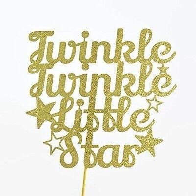 Twinkle Twinkle Little Star Gold Glitter Paper Cake Topper