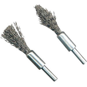 Brand New 2 Piece Wire Rotary Brush De-Carb Set - 6mm Shank Pointed & Flat Tool