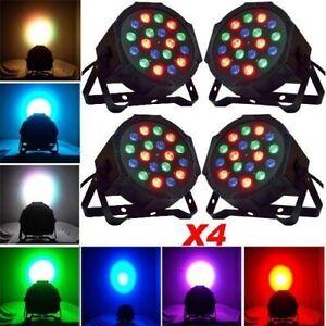 4Pcs RGB LED Stage Light DMX Par CAN DJ Disco Uplighter Lighting Effect Strobe