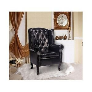 Leather Wing Chair High Back Furniture Queen Anne Chesterfield Armchair Antique