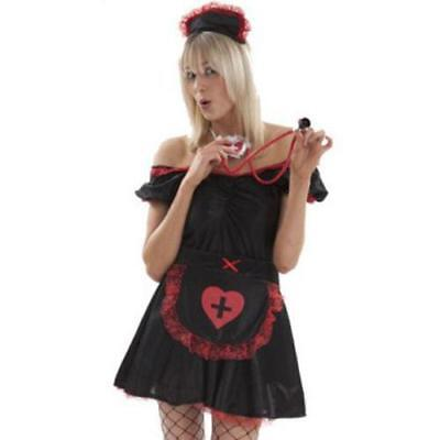 Sexy Black & Red Night Nurse Outfit Dress Hat & Apron Nurse Fancy Dress M,L,XL - Red Nurse Outfit