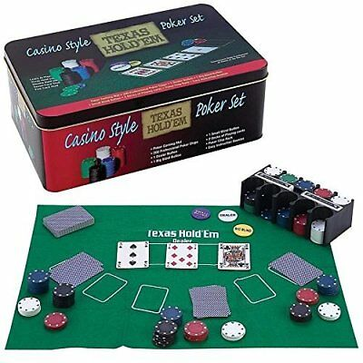 Casino Style Texas Hold' Em Poker Chip Set 200 Pc with Layout Mat Ships FAST - Casino Style