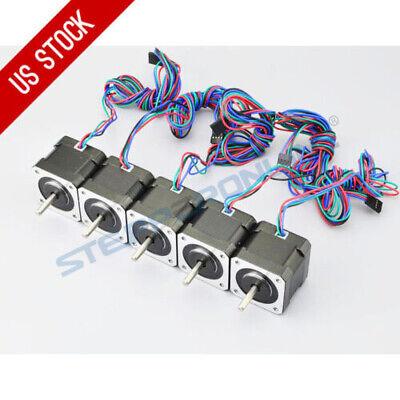 Stepperonline 5pcs Nema 17 Stepper Motor 45ncm 2a 4-lead 1m Cable W Connector