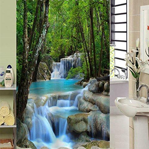 US Ship 3D Waterfall Bathroom Shower Curtain Window Curtains