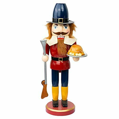 14 inch Thanksgiving Decorations, Wooden Soldier Nutcracker Figures Hold