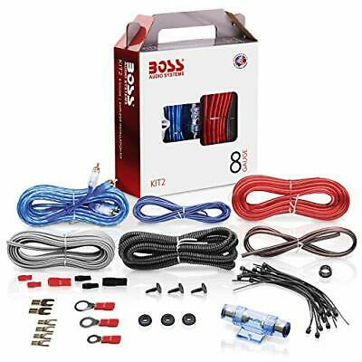 Boss System 8 Gauge Wire Amplifier Installation Kit Audio Stereo Car Speaker Set