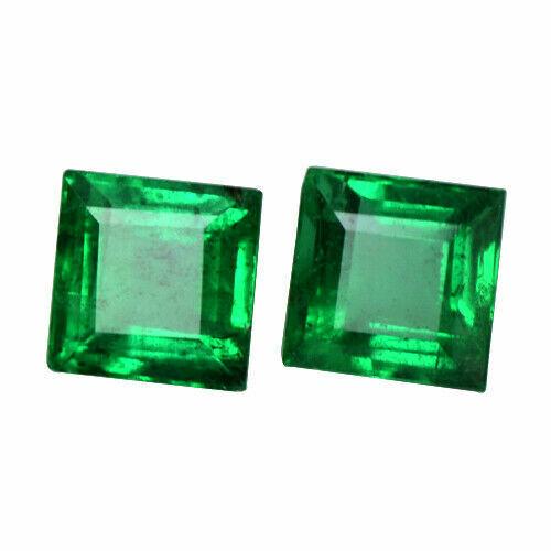 3.8mm Natural Emerald Pair Zambian Gemstone - Square