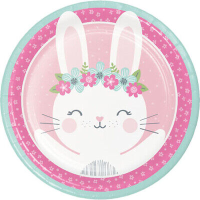 1ST BIRTHDAY Floral Bunny LARGE PAPER PLATES (8) ~Party Supplies Dinner Luncheon