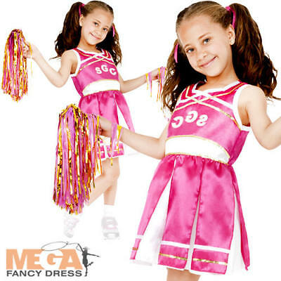 Pink Cheerleader Girls Fancy Dress Sports School Uniform Kids Costume Outfit New - Sports Costumes For Girls
