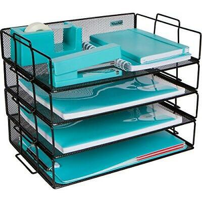 Stackable Paper Tray Desk Organizer 4 Tier Metal Mesh Letter Organizers