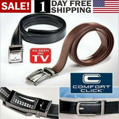 US! COMFORT CLICK Leather Belt Automatic Adjustable Xmas Men Gift As Seen On