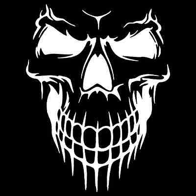 Skull Face Grin Vinyl Decal / Sticker 2(TWO) Pack ()