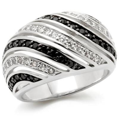 Black White Enamel Rhodium Ring - w224 RHODIUM SIMULATED DIAMOND RING PAVE COMFORT STRIPPED BLACK WHITE ENAMEL
