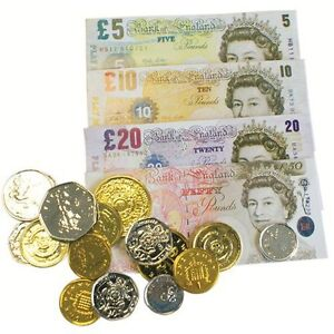 Childrens Fake Money Role Play Set Coins & Notes, Paper Pounds & Plastic Pennies