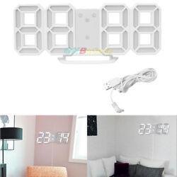 Modern Design 3D Digital LED Table Night Wall Clock Watch 24/12H Alarm Dimming