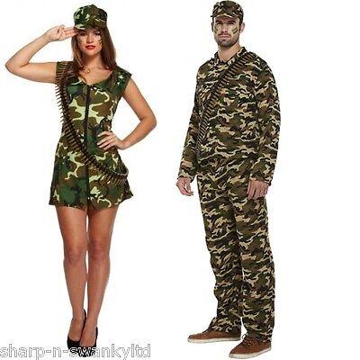 Paar Herren & Damen armee Tarnmuster Militär Kostüm Verkleidung Outfit