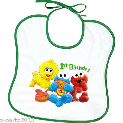 SESAME STREET 1st BIRTHDAY PLASTIC BIBS (2) ~ Party Supplies Baby Favors Toddler](Baby Sesame Street Birthday Party Supplies)