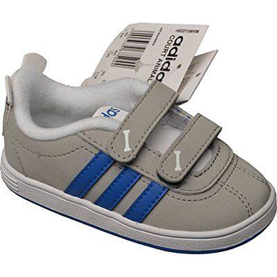 Grau Kinder Schuhe (Adidas Court Animal Infant Kinderschuhe Klettverschlus grau Sneaker  NEU Kinder )