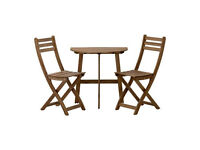 IKEA small half table & 4 chairs with seat pillows - ASKHOLMEN Table f wall+4 fold chairs, outdoor