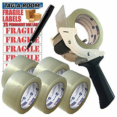 2 Industrial Tape Gun With Automatic Tensioner Clear Packing Tape 6 Rolls Kit