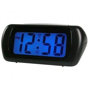 acctim black auric alarm clock blue lcd battery operated. Black Bedroom Furniture Sets. Home Design Ideas