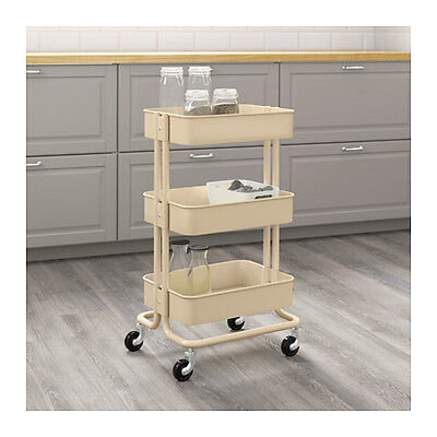 New IKEA Raskog Home Kitchen Bedroom Storage Steel Utility Cart, Beige