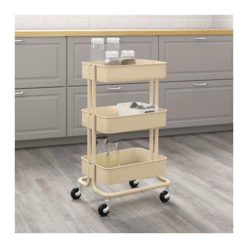 New IKEA Raskog Home Kitchen Bedroom Storage Steel Utility Cart, Beige