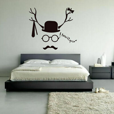 Wall Decal Face Love Hipseter Hat Butterfly Mustache Tie Horns Glasses M1010