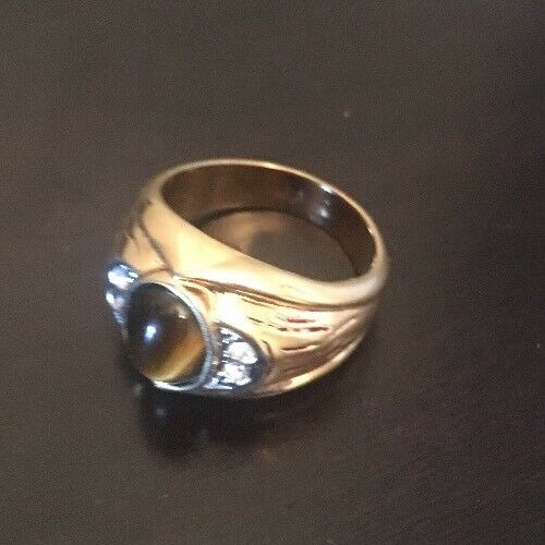 """Gold Tone Ring With Rhinestones And Brown Rock 11"""""""