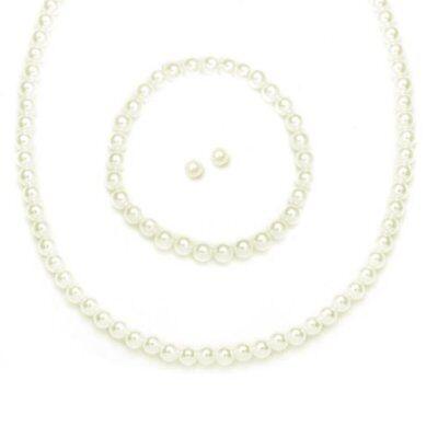 Flower Girl Wedding Ivory Pearl 3 pc Necklace Earrings Bracelet Kids Jewelry Set (Flower Girl Necklace)