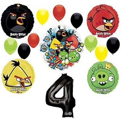 Angry Birds 4th Birthday Party Supplies and Group See-Thru Balloon Decorations - Angry Bird Birthday Supplies