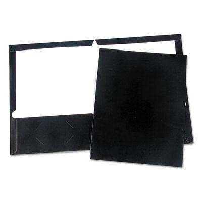 Laminated Two-pocket Folder Cardboard Paper Black 11 X 8 12 25pack