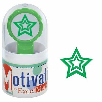 (NEW ExcelMark Motivations Pre Inked Teacher Stamp | Star Green Ink)