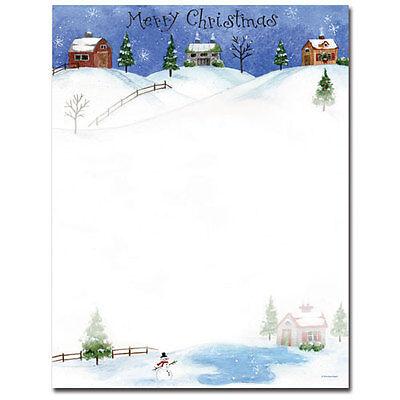 Folk Art Village Christmas Letterhead - 25 or 80pk ()