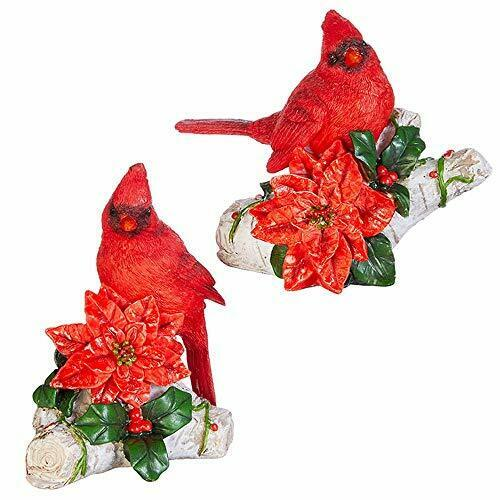 RAZ Imports Red Cardinal on a Branch w/Poinsettia Figurines Christmas Set of 2