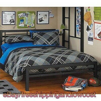 Footboard Full Furniture Your Zone Metal Platform Bed Frame with Headboard Black