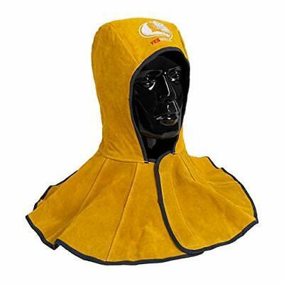 Golden Cowhide Split Leather Welding Hood With Neck Shoulder Drape Welding Caps