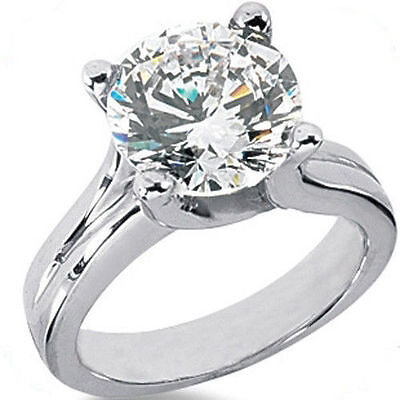 2.01 carat Round cut Diamond Engagement Solitaire 14k White Gold Ring H SI1 GIA