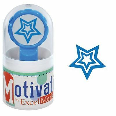 New Excelmark Motivations Pre Inked Teacher Stamp Star Blue Ink