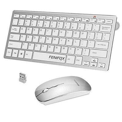 Fenifox Wireless Keyboard & Mouse For PC, Mac, Imac, Laptop, Silver #AZG