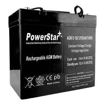 PowerStar 12V 55Ah AGM Deep Cycle Battery for RENOGY PV SOLA