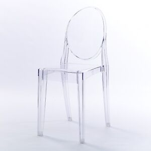 Clear Ghost Victoria Dining & Dressing Room French Side Chair Transparent Modern