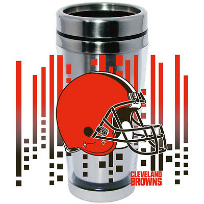 Cleveland Browns Logo Travel Mug Tumbler Stainless Steel NEW Clear Insert Cleveland Browns Travel Mug